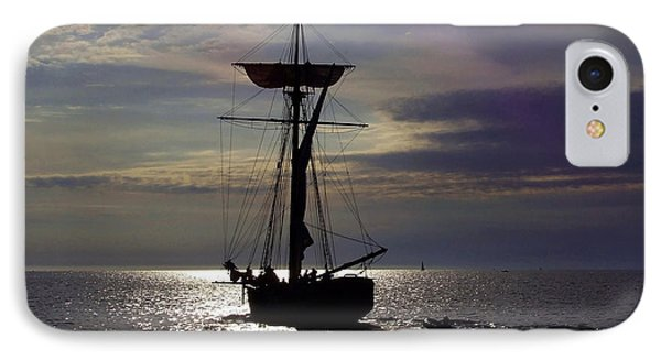Friends Good Will Tall Ship Silhouette Phone Case by Richard Gregurich