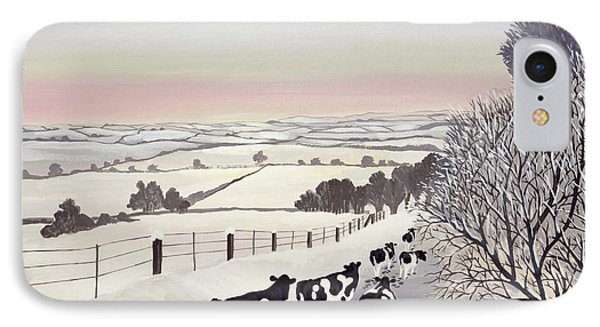 Landscapes iPhone 7 Case - Friesians In Winter by Maggie Rowe