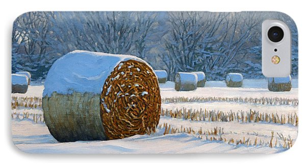 Frigid Morning Bales Phone Case by Bruce Morrison