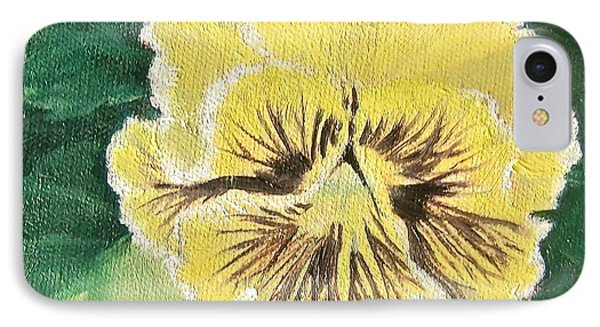 IPhone Case featuring the painting Frilly Yellow Pansy by Bonnie Heather