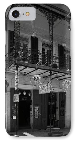 Bloody Mary iPhone 7 Case - Fritzel's European Jazz Pub In Black And White by Chrystal Mimbs