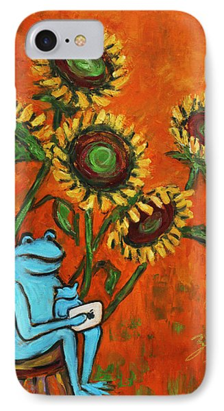 Frog I Padding Amongst Sunflowers Phone Case by Xueling Zou