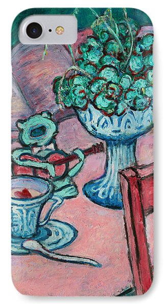 IPhone Case featuring the painting Frog Singing At Teatime by Xueling Zou