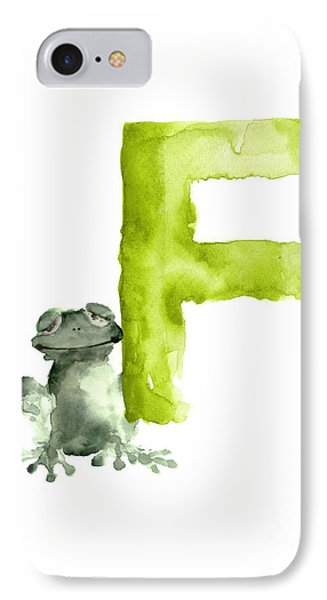 Frog Watercolor Alphabet Painting IPhone Case by Joanna Szmerdt
