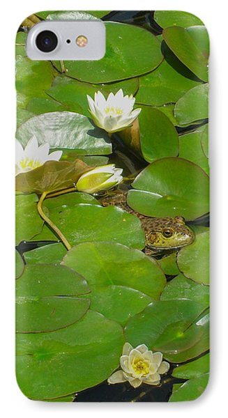 Frog With Water Lilies IPhone Case