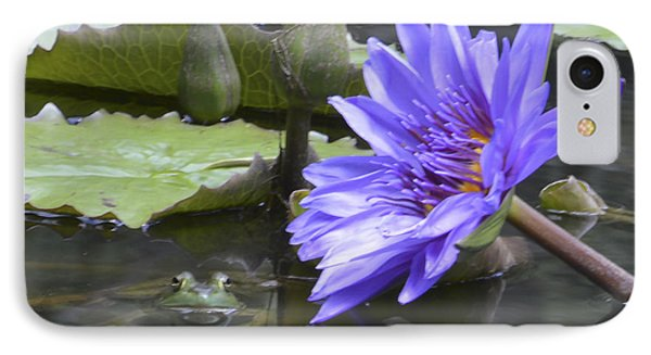 Frog With Water Lily Phone Case by Linda Geiger