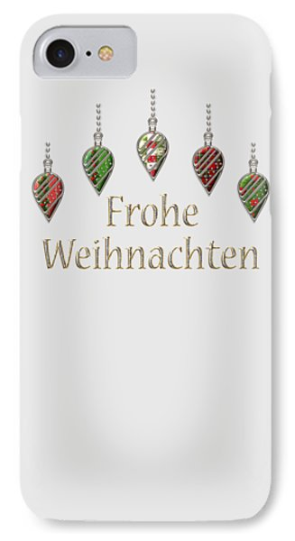 Frohe Weihnachten German Merry Christmas IPhone Case by Movie Poster Prints