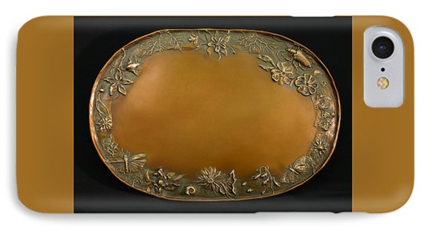 IPhone Case featuring the sculpture From The Foothills Bronze Tray by Dawn Senior-Trask