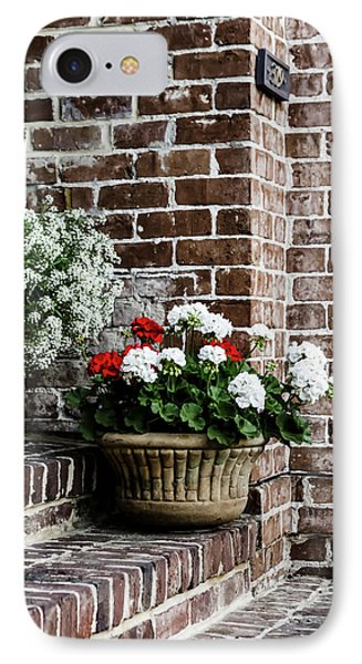 IPhone Case featuring the photograph Front Porch With Flower Pots by Kim Hojnacki