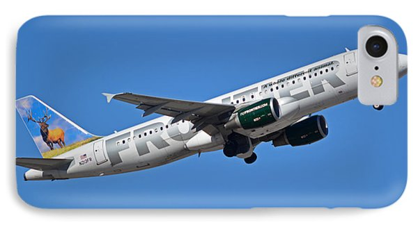 Frontier Airbus A320-214 N213fr Montana The Elk Phoenix Sky Harbor January 12 2015 Phone Case by Brian Lockett