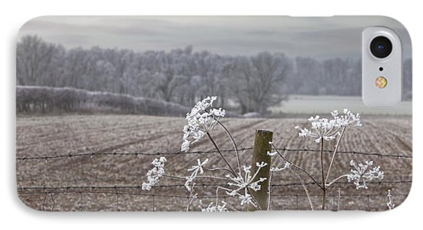 Frost-covered Rural Field Cumbria Phone Case by John Short