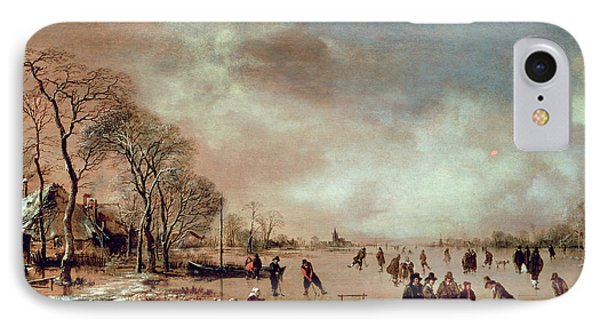 Frozen Canal Scene  IPhone Case by Aert van der Neer