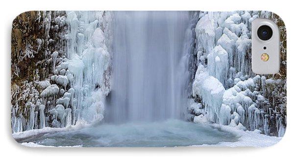 Frozen Multnomah Falls Closeup Phone Case by David Gn