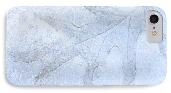 Frozen Oak Leaf Imprint IPhone Case by Kathy M Krause