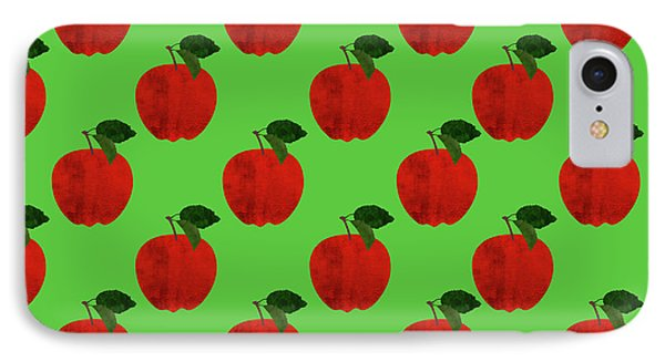 Fruit 02_apple_pattern IPhone Case by Bobbi Freelance