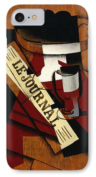 Fruit Dish Glass And Newspaper IPhone Case by Juan Gris