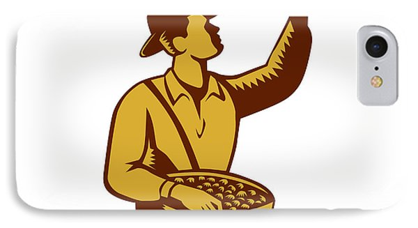 Fruit Picker Worker Pointing Woodcut IPhone Case by Aloysius Patrimonio