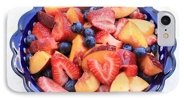 Fruit Salad In Blue Bowl Phone Case by Carol Groenen