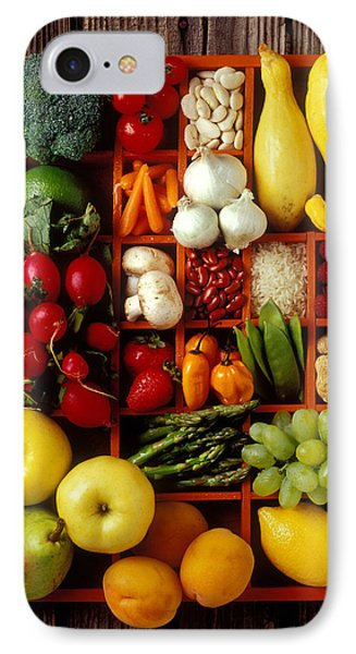 Raspberry iPhone 7 Case - Fruits And Vegetables In Compartments by Garry Gay