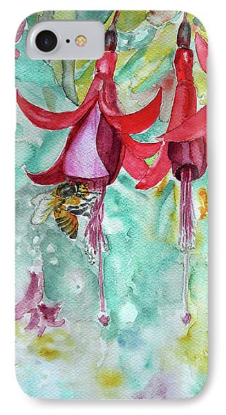 IPhone Case featuring the painting  Fuchsia by Jasna Dragun