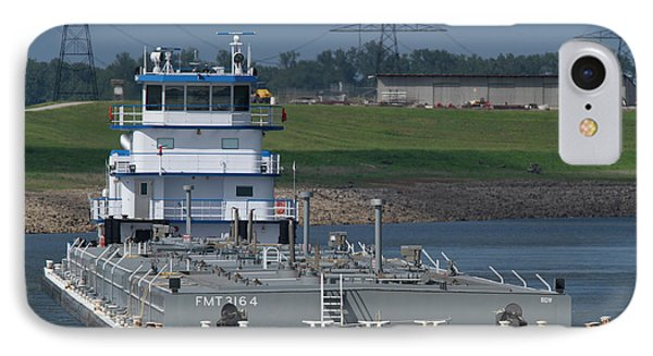 Fuel Barge On The Mississippi R IPhone Case by Garry McMichael