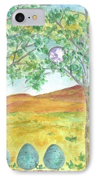 IPhone Case featuring the drawing Full Moon And Robin Eggs by Cathie Richardson