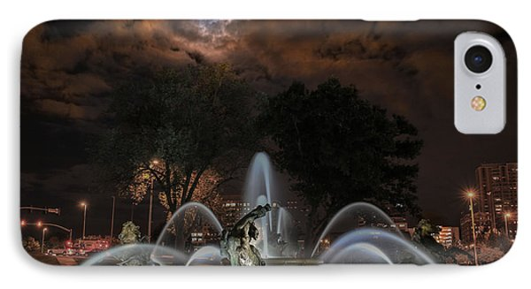 Full Moon At The Fountain IPhone Case by Lynn Sprowl