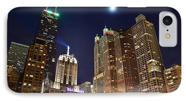 Full Moon Over Chi Town IPhone Case by Frozen in Time Fine Art Photography
