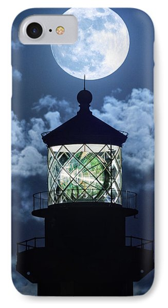Full Moon Over Hillsboro Lighthouse In Pompano Beach Florida  IPhone Case by Justin Kelefas