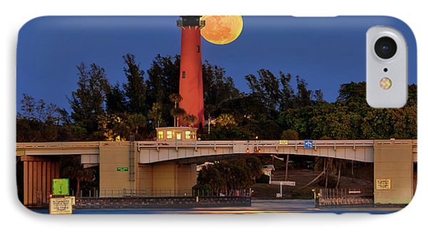 Full Moon Over Jupiter Lighthouse, Florida IPhone Case by Justin Kelefas