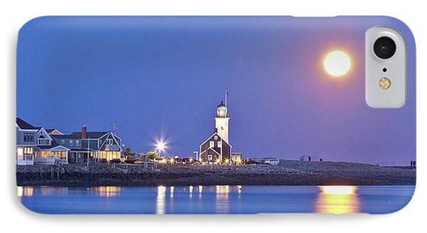 IPhone Case featuring the photograph Full Moon Over Scituate Light by Susan Cole Kelly