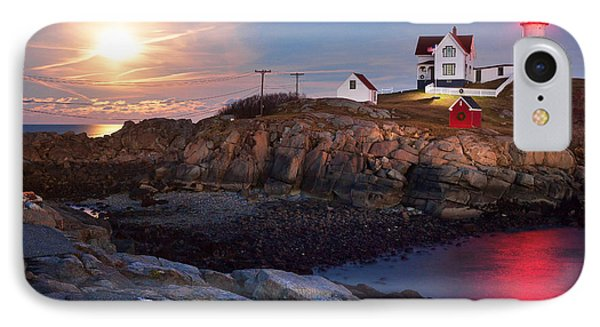 Full Moon Rise At Nubble Lighthouse IPhone Case by Eric Gendron