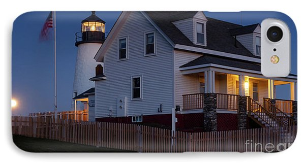 Full Moon Rise At Pemaquid Light, Bristol, Maine -150858 IPhone Case