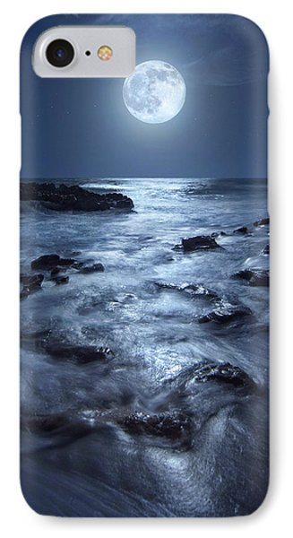 Full Moon Rising Over Coral Cove Beach In Jupiter, Florida IPhone Case by Justin Kelefas