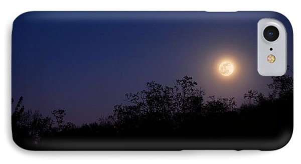 Full Moon Rising Over Trees Phone Case by Sharon Dominick
