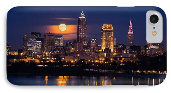 Full Moonrise Over Cleveland IPhone Case by Dale Kincaid