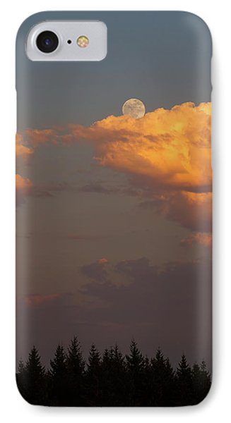 Full Moonrise Over Tree Silhouette Phone Case by David Gn