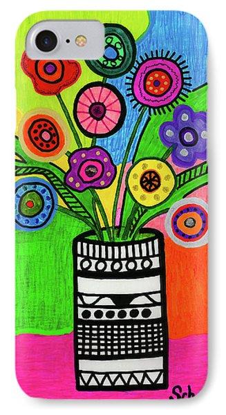 Funky Folk Flowers IPhone Case by Susan Schanerman