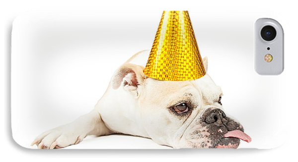 Funny Bulldog Wearing A Yellow Party Hat  IPhone Case by Susan Schmitz