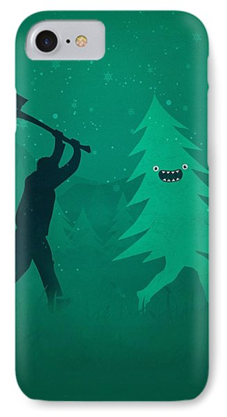 Funny Cartoon Christmas Tree Is Chased By Lumberjack Run Forrest Run IPhone 7 Case