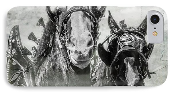 IPhone Case featuring the photograph Funny Draft Horses by Mary Hone