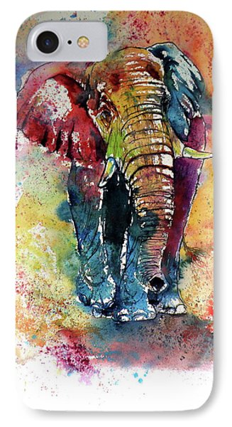IPhone Case featuring the painting Funny Elephant by Kovacs Anna Brigitta