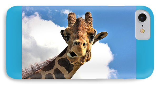 Funny Face Giraffe IPhone Case by Sheila Brown
