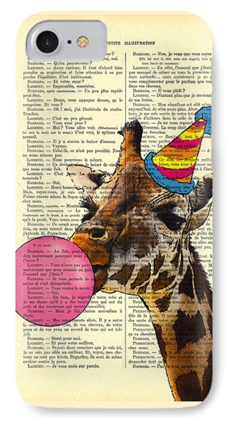 Funny Giraffe, Dictionary Art IPhone Case by Madame Memento