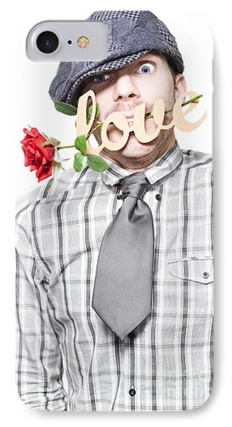 Funny Man Saying Sorry With Love And A Red Rose IPhone Case by Jorgo Photography - Wall Art Gallery