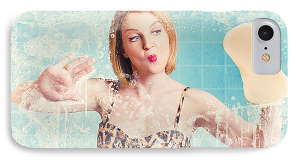 Funny Pin Up Cleaning Woman Washing Bathroom Glass IPhone Case by Jorgo Photography - Wall Art Gallery