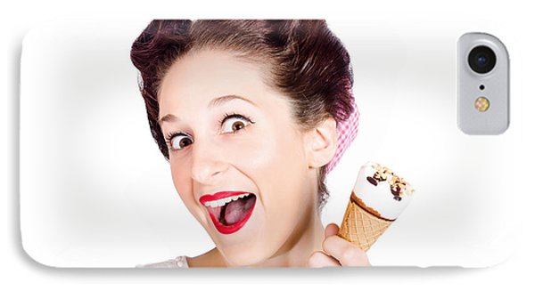 Funny Pinup Girl With Ice Cream In Isolated Studio IPhone Case by Jorgo Photography - Wall Art Gallery