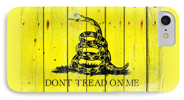 Gadsden Flag On Old Wood Planks IPhone Case by M L C