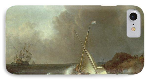 Galleon In Stormy Seas   Phone Case by Jan Claes Rietschoof