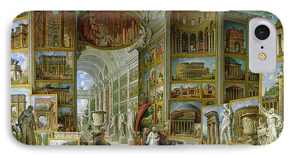 Gallery Of Views Of Ancient Rome IPhone Case by Giovanni Paolo Pannini